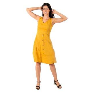 Vestido Midi Com Botão Holin Stone - BEGE - M