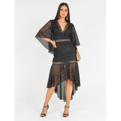 Vestido Midi De Tela Decote V Com Entremeios - Feminino