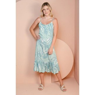 Vestido Midi em Viscose Estampada Floral
