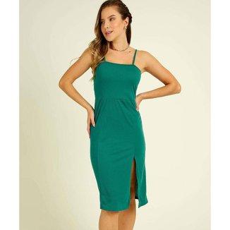 Vestido Midi Feminino Canelado Fenda Alças Finas - 10047624658