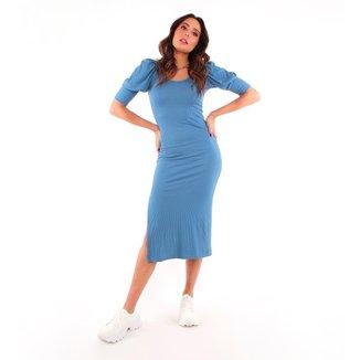 Vestido Midi Malha Canelada Mangas Bufantes Pop Me-Azul-PP