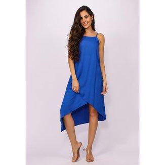 Vestido Midi Recortes Azul Bic - G - Veste do 44 ao 46