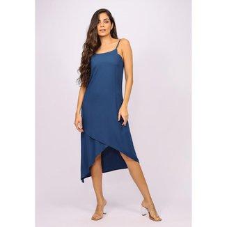 Vestido Midi Recortes Azul Marinho - GG - Veste do 46 ao 48