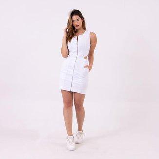 Vestido Mini com Abertura nas Costas Branco Lady Rock