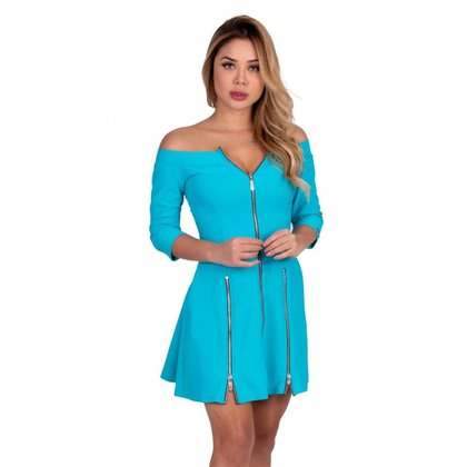 Vestido Miss Misse rodado com ziper Azul - G