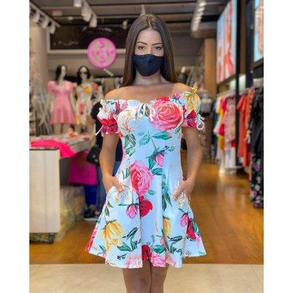 Vestido Miss Misses Estampado Com Bolso Com Pregas LILAS - G