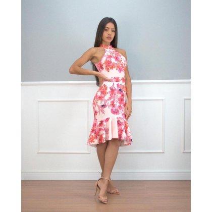Vestido Miss Misses Estampado Rosa - M