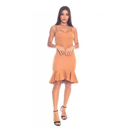 Vestido Miss Misses Liso Bege - P