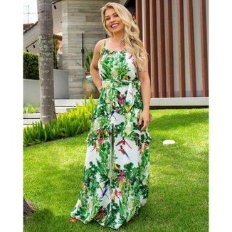 Vestido Miss Misses Longo com Estampa Tropical Verde - P