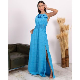 Vestido Miss Misses Longo com Fenda e Babados Azul - P