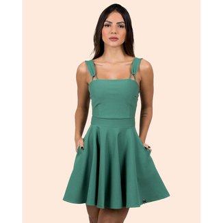 Vestido Miss Misses Rodado Alça com Argola Verde - P