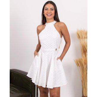 Vestido Miss Misses Rodado Com Bolso e Ziper Branco - P