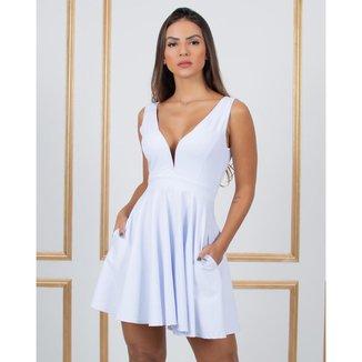 Vestido Miss Misses Rodado com Decote Profundo Branco - P