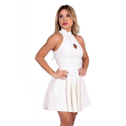 Vestido Miss Misses rodado liso com pregas no decote Off-white - P