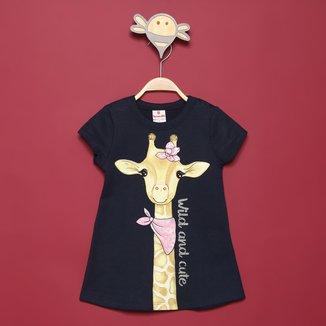 Vestido Moletinho Bebê Brandili Girafa Fashion