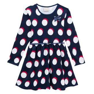 Vestido Moletinho Infantil Milon Poá Laço Manga Longa