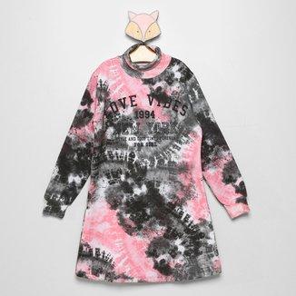 Vestido Moletom Juvenil For Girl Tie Dye