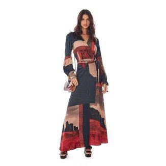 Vestido Morena Rosa Longo Decote Transpassado Com Cinto Feminino