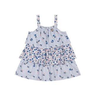 Vestido Mundi Malha Estampa De Florzinhas Bebê
