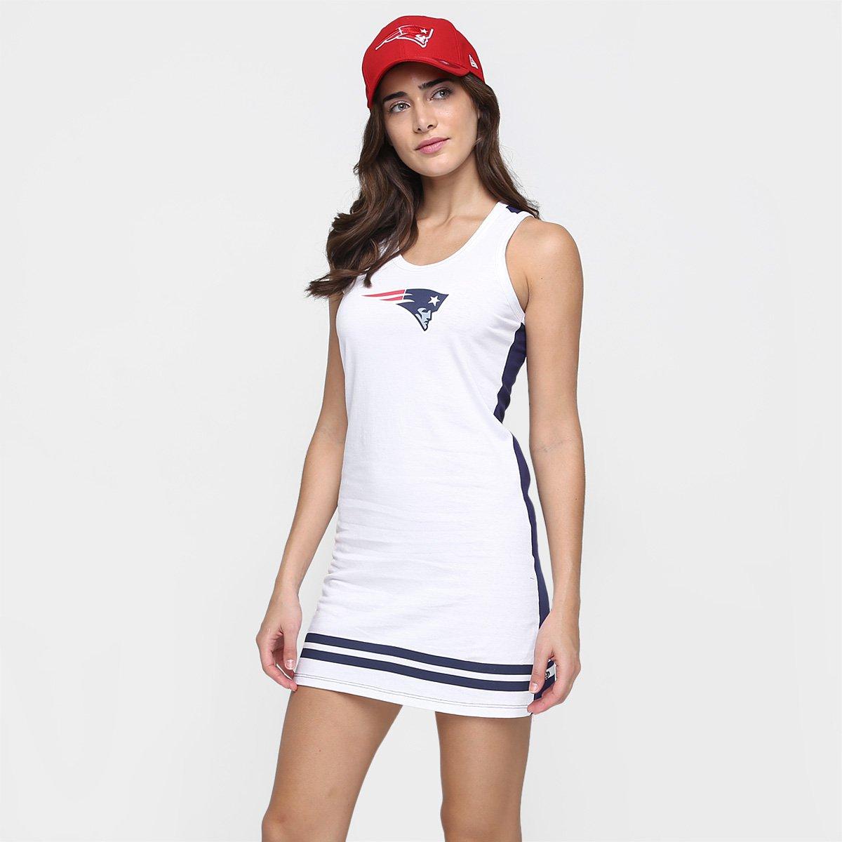 Vestido New Era Nfl Listras Moline New England Patriots Marinho E Branco