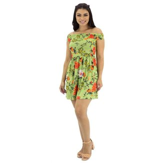 Vestido Ombro a Ombro Floral Feminino Mosaico Verde