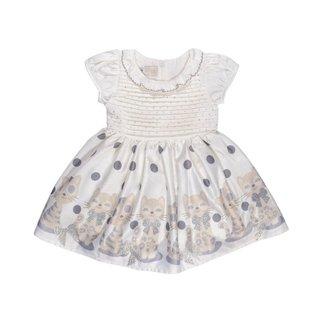 Vestido Para Bebê Barrado Gatinhas Poá - Anjos Baby