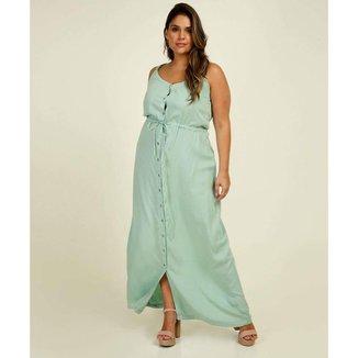 Vestido Plus Size Longo Feminino Botões Alças Finas - 10046074065