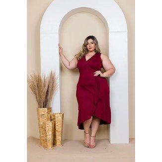 Vestido Plus Size Mullet Moda Roupas Feminina GG 48 ao 52