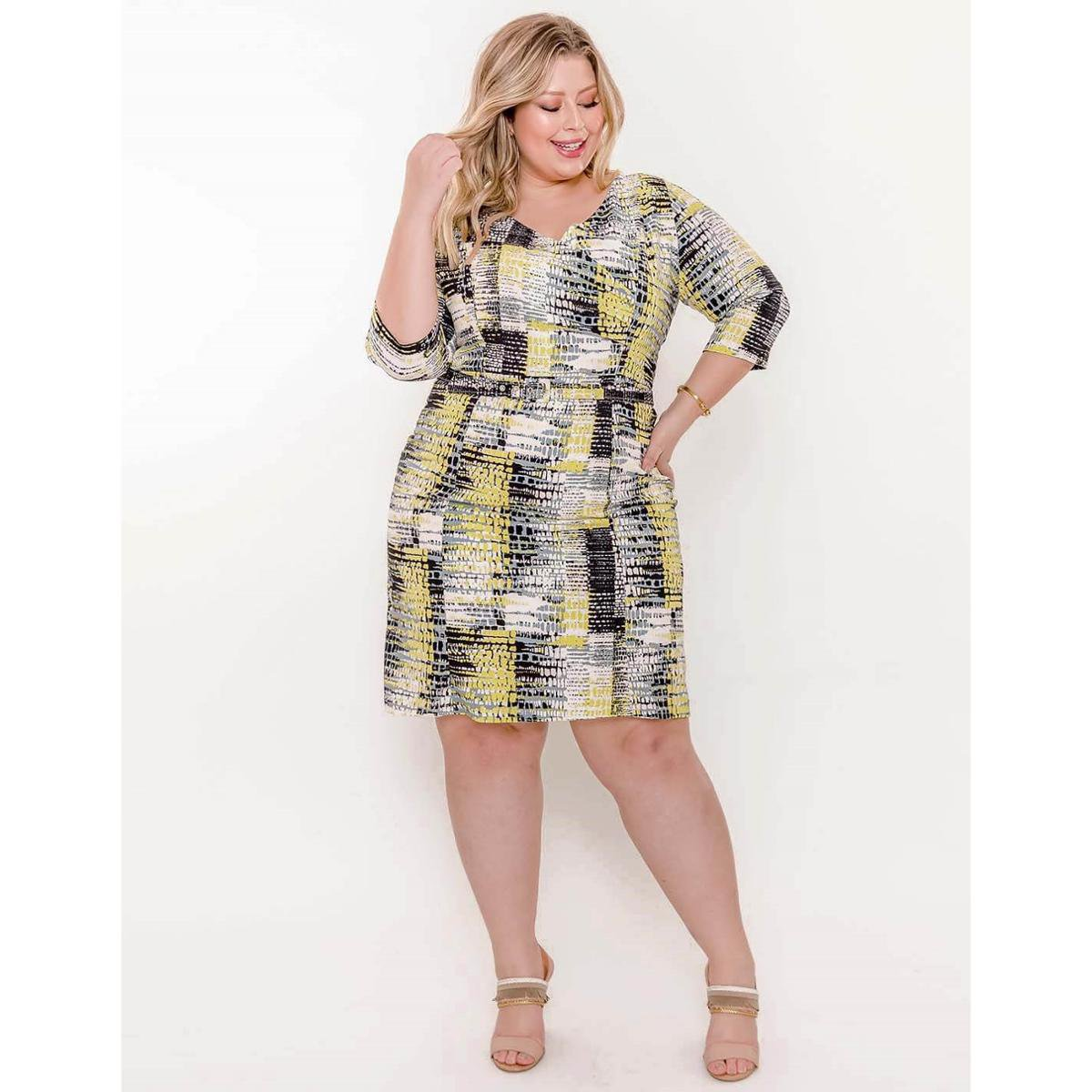 Vestido Plus Size Palank Girassol Feminino Amarelo