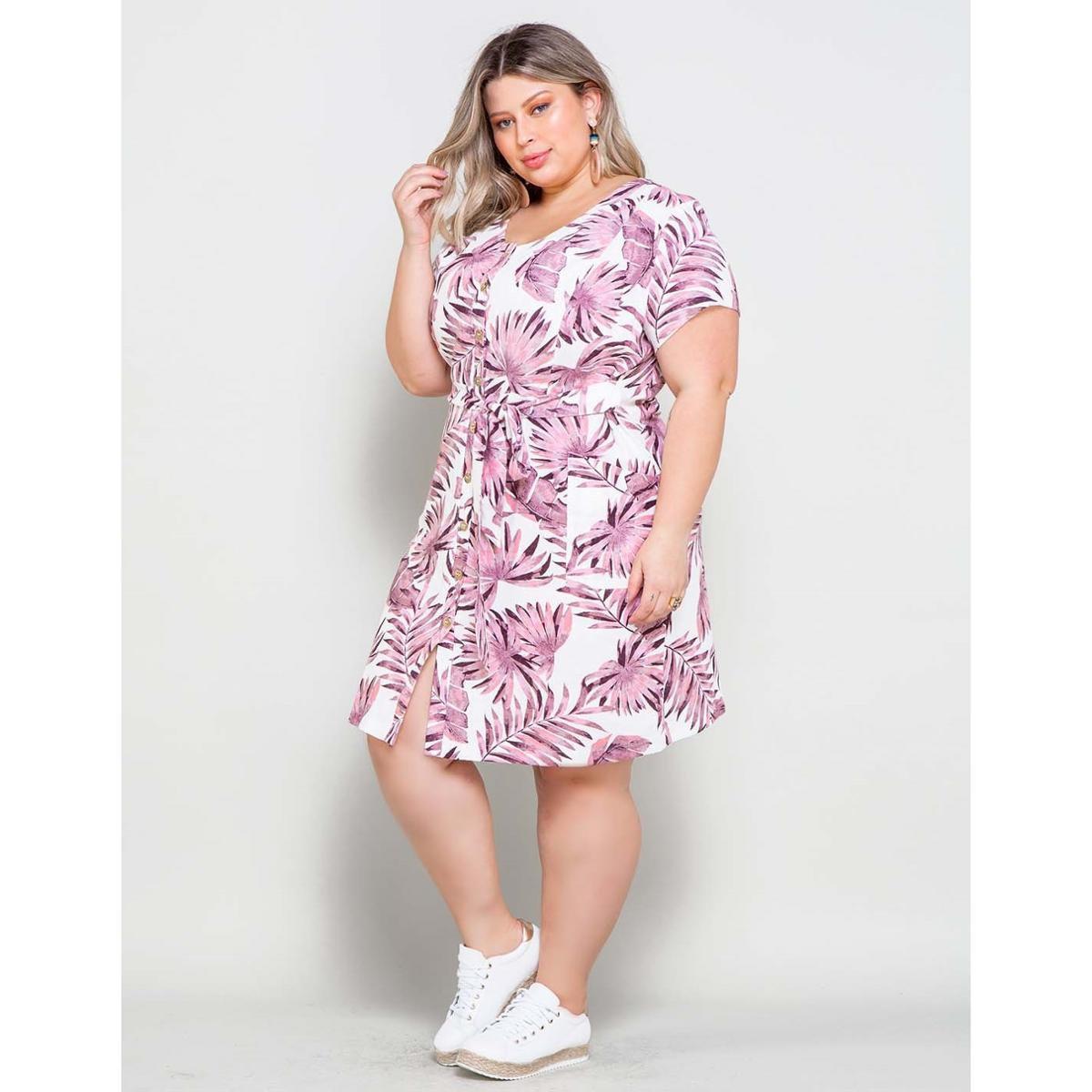Vestido Plus Size Palank Mindi Manaus Feminino Rosa