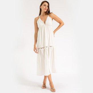 Vestido Renda Cynthia Frente U Off White LA LIMA