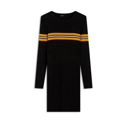 Vestido Ribbed Sport Chest Preto/Amarelo M