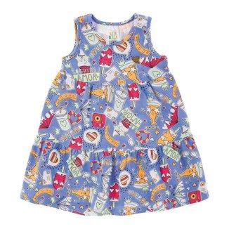 Vestido Rotativo Azul Bebê Menina Cotton 39108-245