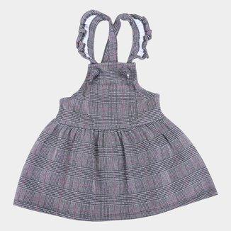 Vestido Salopete Bebê For Girl Moletinho Xadrez