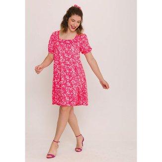 Vestido Solto Manga Bufante Estampado Rosa