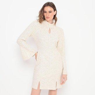 Vestido Texturizado Com Fenda Operate Feminino