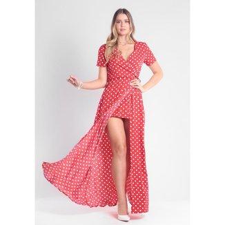 Vestido Traymon Poá Com Abertura Frontal Feminino