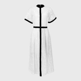 Vestido Tule Bordado Offwhite