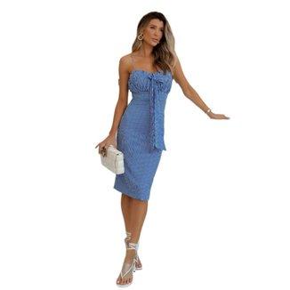 Vestido Zarky Midi Alcinha Listrado Azul