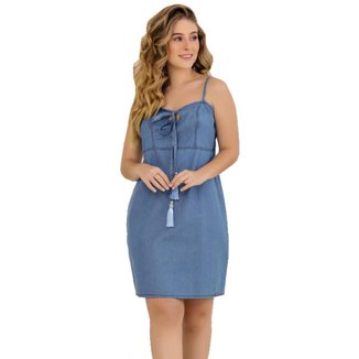 Vestido Zayon Jeans Detalhe Amarração Azul Médio