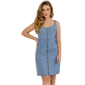 Vestido Zayon Jeans Zíper Frontal Azul Médio