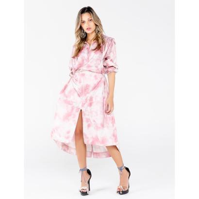 Vestidos De Nylon Estampa Tie Dye Cloud Com Adesivo Feminino - Feminino