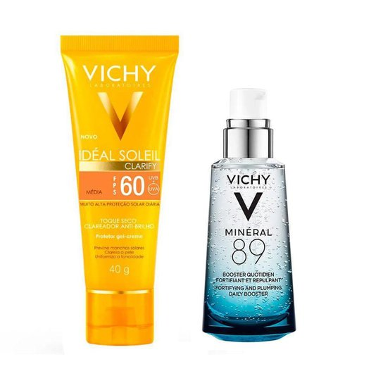 Vichy Minéral 89 Ideal Soleil Clarify Média Kit – Hidratante Facial + Protetor Solar FPS60 Kit - Incolor
