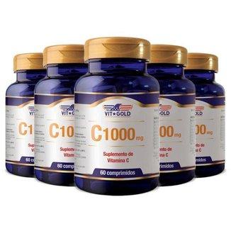 Vitamina C 1000mg - 5 unidades de 60 Comprimidos - VitGold