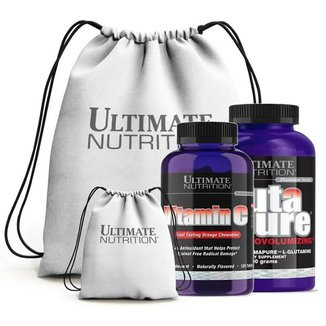 Vitamina C 120 Tabs (Laranja) + Glutapure 400G + Mochila - Ultimate Nutrition