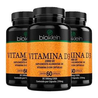Vitamina D3 2000 UI - 3 unidade de 60 Cápsulas - Bioklein