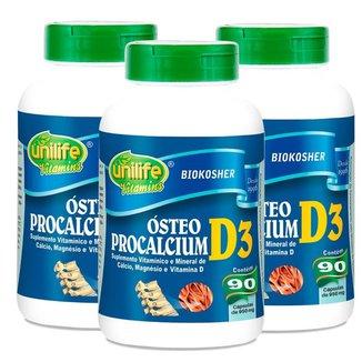 Vitamina D3 Cálcio e Magnésio Ósteo Procalcium Kit com 3 frascos
