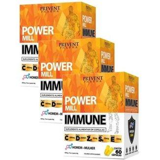 Vitaminas C D E + Zinco Selenio Power Immune 180 Caps 3cxs