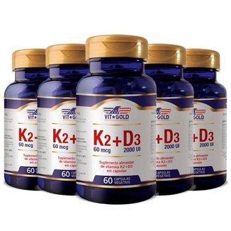 Vitaminas K2 + D3 - 5 unidades de 60 Cápsulas - VitGold