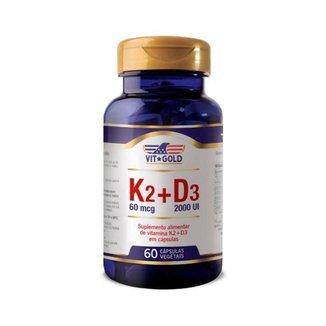 Vitaminas K2 + D3 - 60 Cápsulas - VitGold